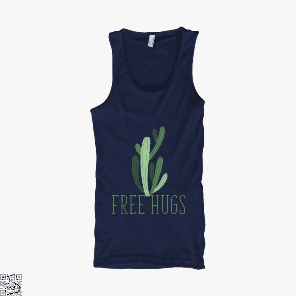 Free Hugs Cactus Satirical Tank Top - Women / Blue / Small - Productgenapi
