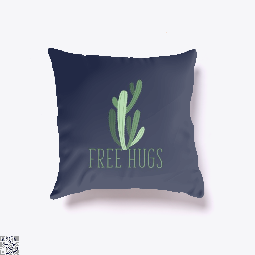 Free Hugs Cactus Satirical Throw Pillow Cover - Blue / 16 X - Productgenapi