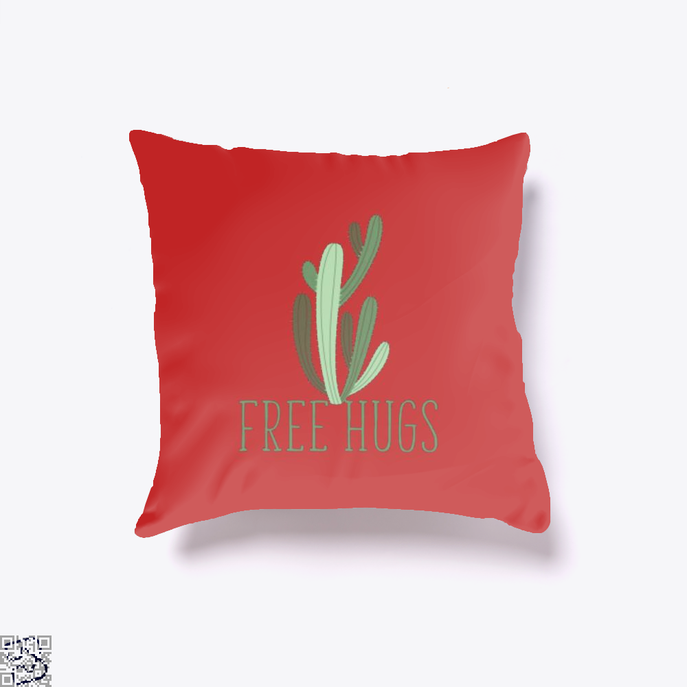 Free Hugs Cactus Satirical Throw Pillow Cover - Red / 16 X - Productgenapi