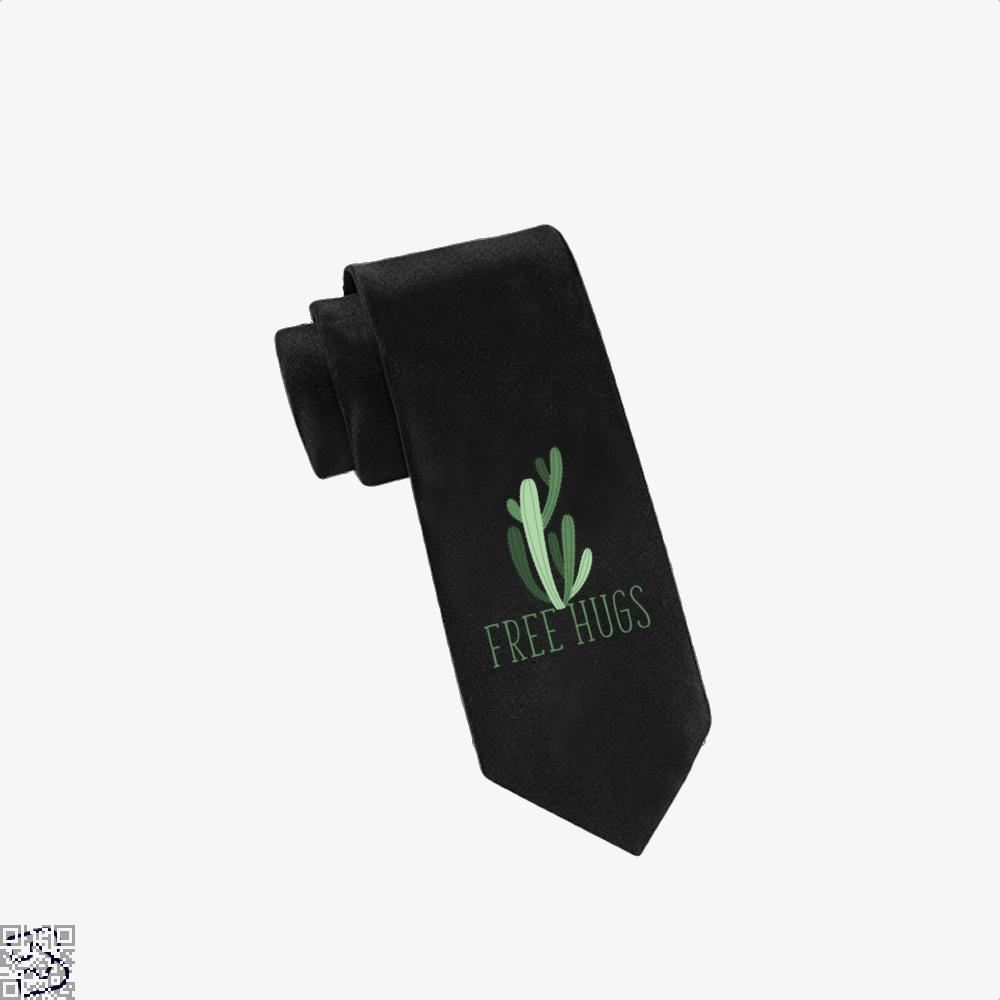 Free Hugs Cactus Satirical Tie - Black - Productgenapi