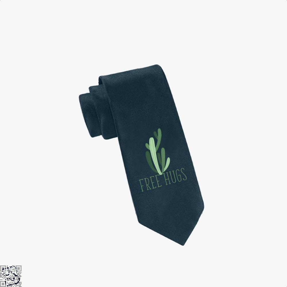 Free Hugs Cactus Satirical Tie - Navy - Productgenapi