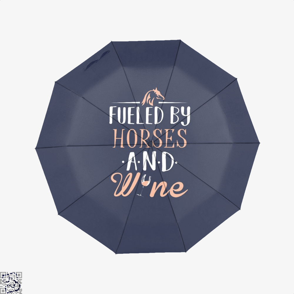 Fueled By Horses And Wine Horse Umbrella - Blue - Productgenjpg