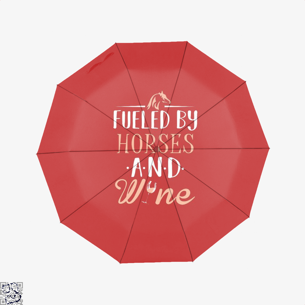 Fueled By Horses And Wine Horse Umbrella - Red - Productgenjpg