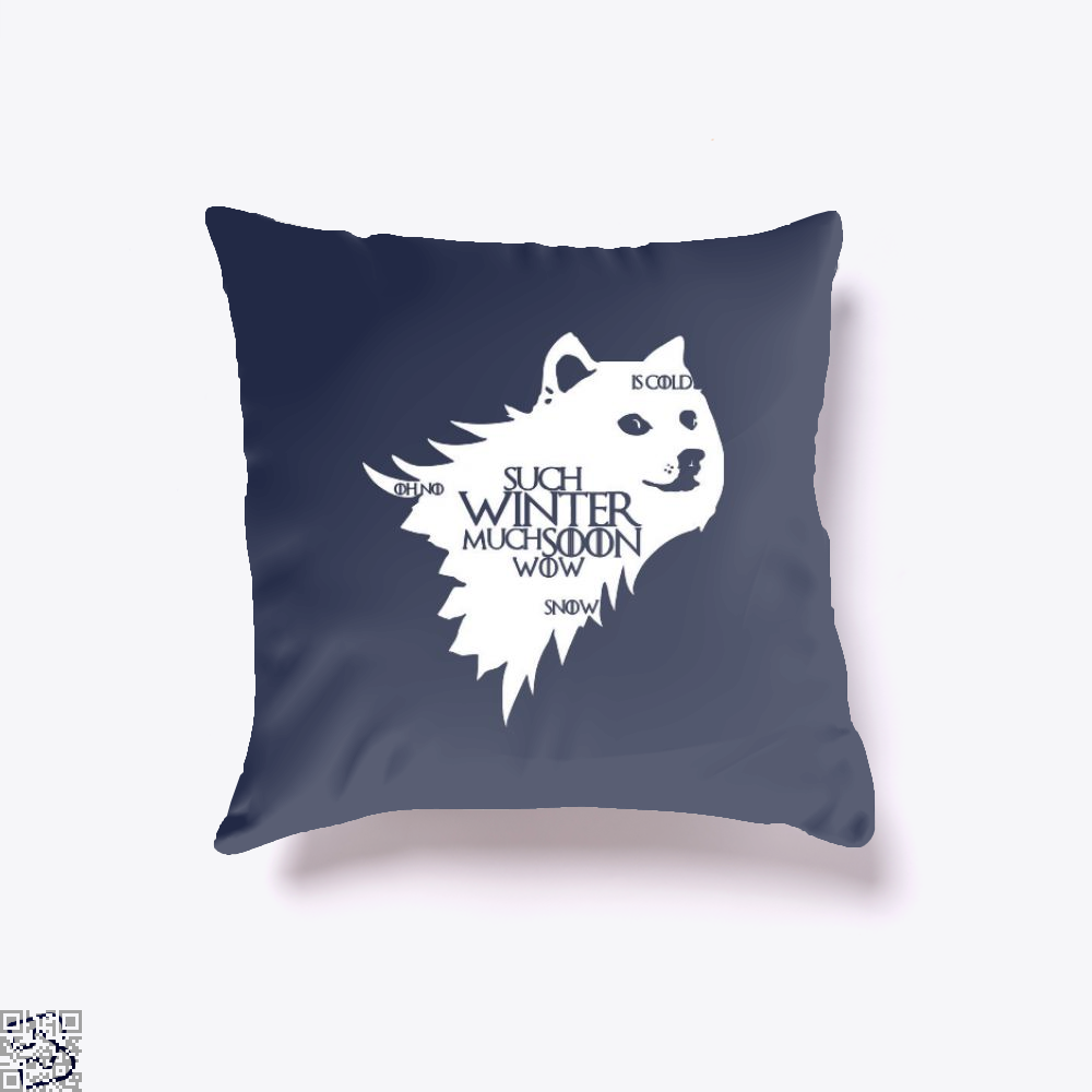 Game Of Thrones Doge Such Winter Much Soon Wow Of Throw Pillow Cover - Blue / 16 X - Productgenjpg