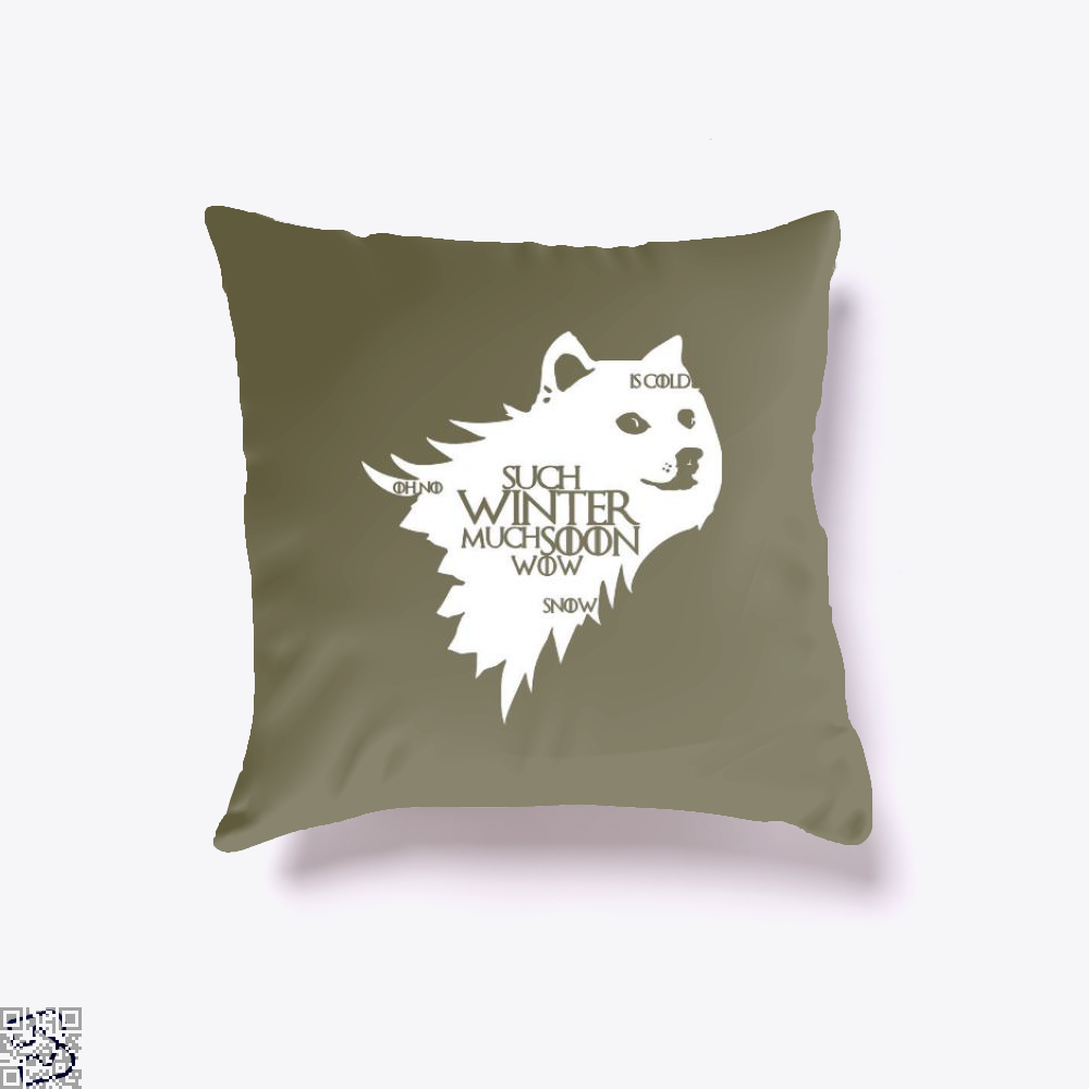 Game Of Thrones Doge Such Winter Much Soon Wow Of Throw Pillow Cover - Brown / 16 X - Productgenjpg