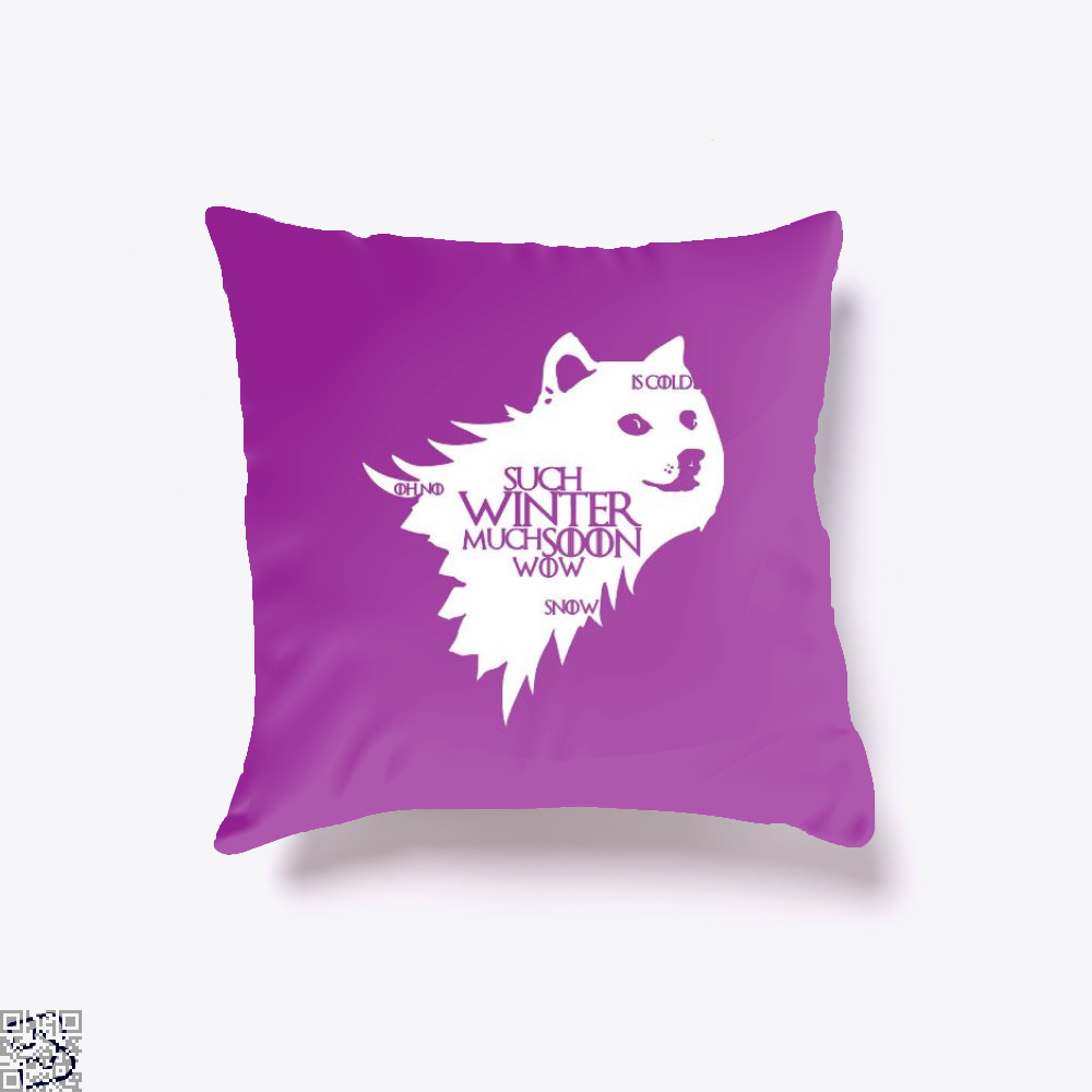 Game Of Thrones Doge Such Winter Much Soon Wow Of Throw Pillow Cover - Purple / 16 X - Productgenjpg