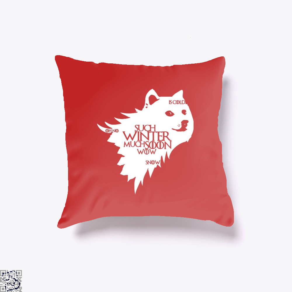 Game Of Thrones Doge Such Winter Much Soon Wow Of Throw Pillow Cover - Red / 16 X - Productgenjpg
