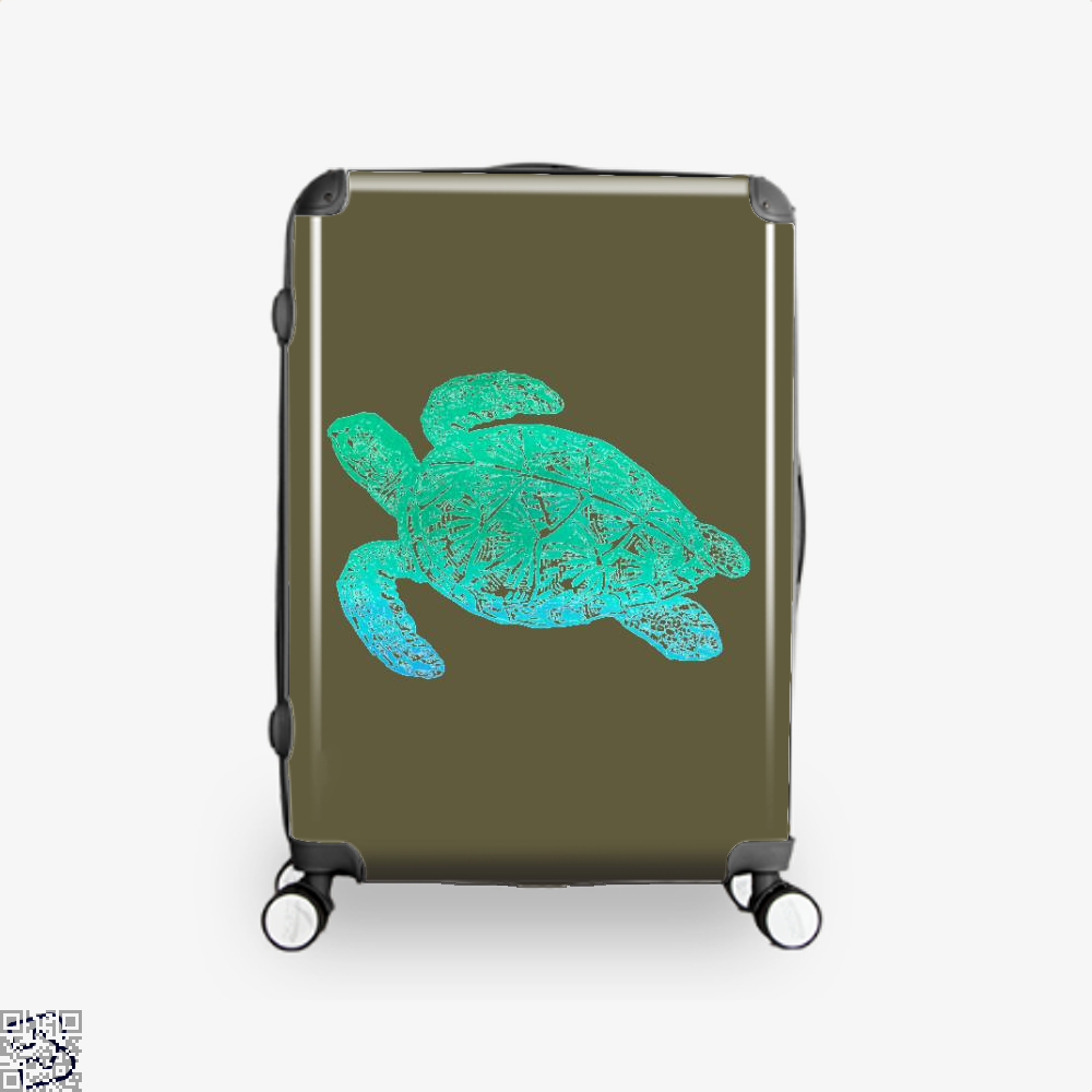 Green Blue Sea Turtle Turtles Suitcase - Brown / 16 - Productgenjpg