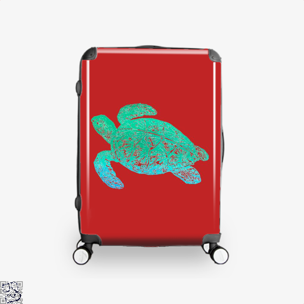 Green Blue Sea Turtle Turtles Suitcase - Red / 16 - Productgenjpg