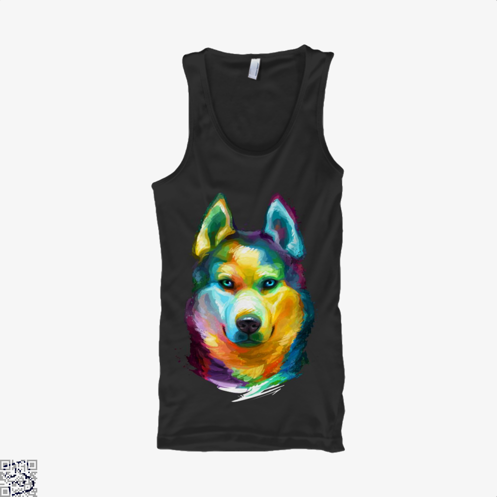 Siberian Husky Colorful Portrait, Husky Tank Top