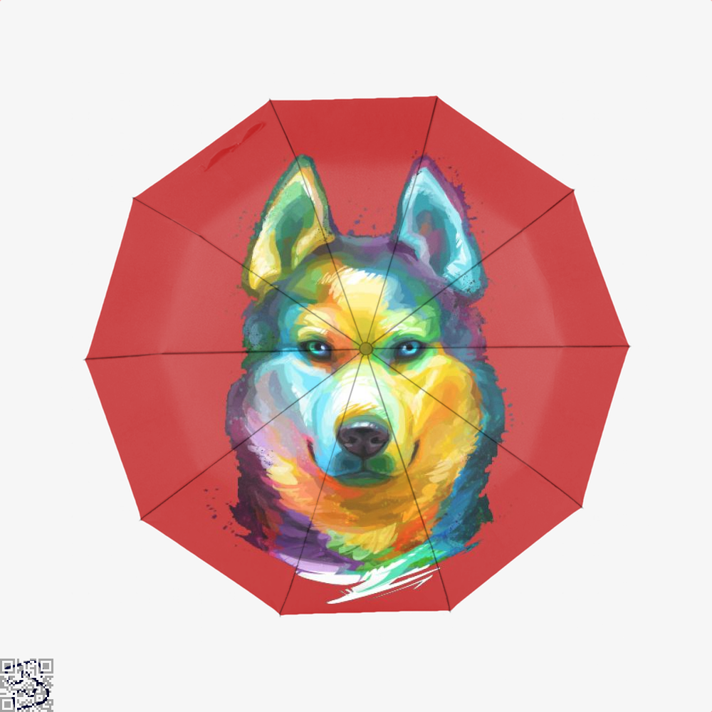 Siberian Husky Colorful Portrait, Husky Umbrella