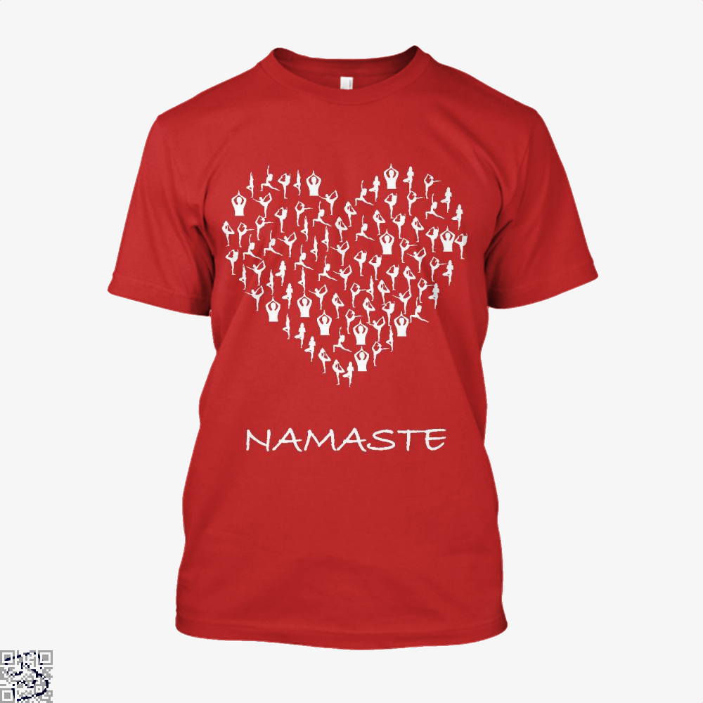 Namaste Yoga Heart With Tiny Yoga Poses Meditation Shirt, Yoga Shirt