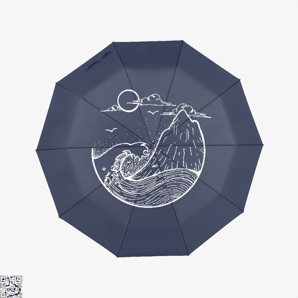 Japanese Style Scenery With Sun Mountain And Sea, Klgarts Umbrella