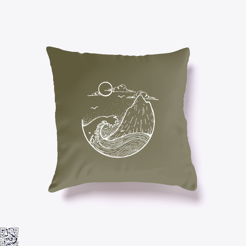 Japanese Style Scenery With Sun Mountain And Sea, Klgarts Throw Pillow Cover