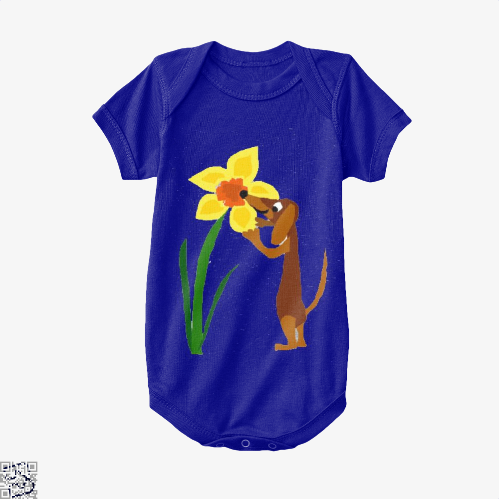 Funny Cute Dachshund Dog And Daffodil Flower, Dachshund Baby Onesie