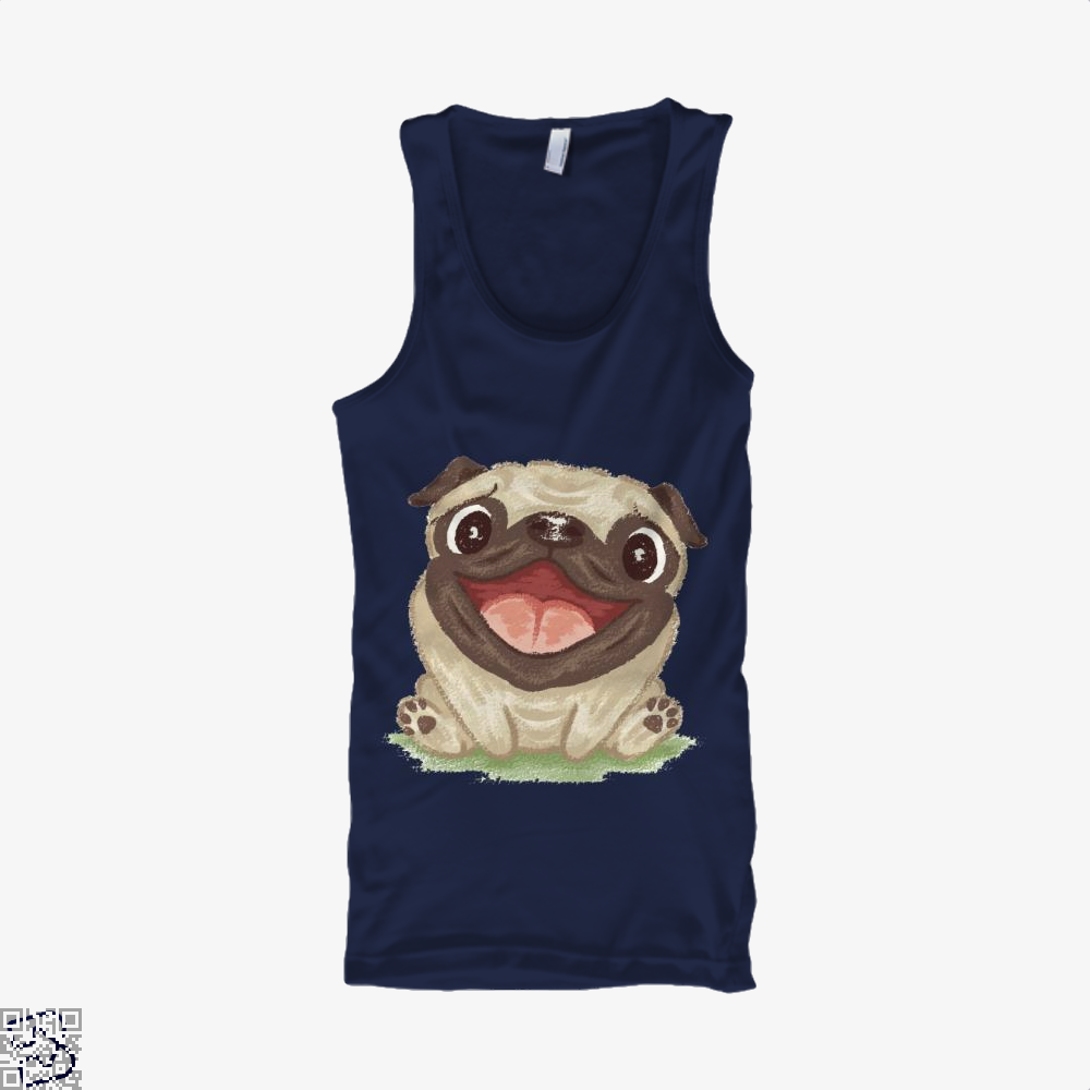 Happy Pug Dog, Pug Tank Top