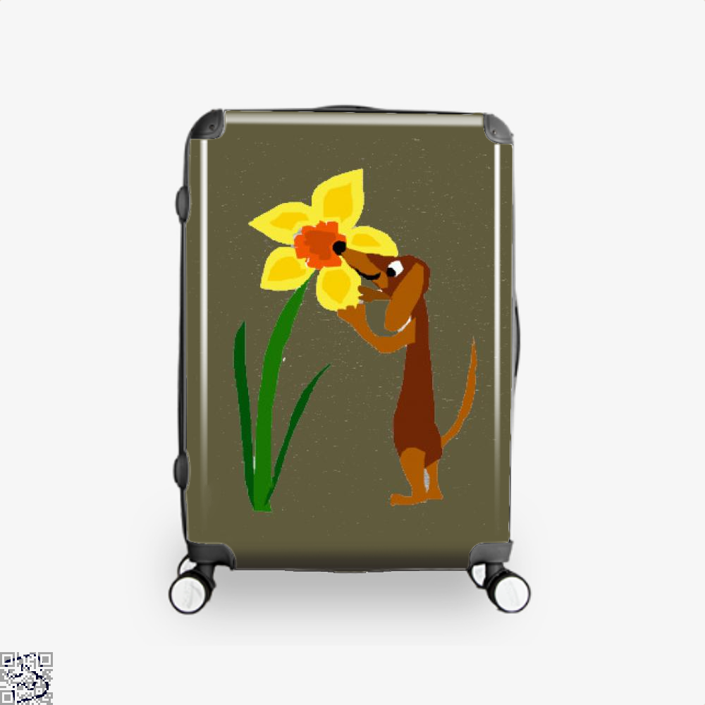 Funny Cute Dachshund Dog And Daffodil Flower, Dachshund Suitcase