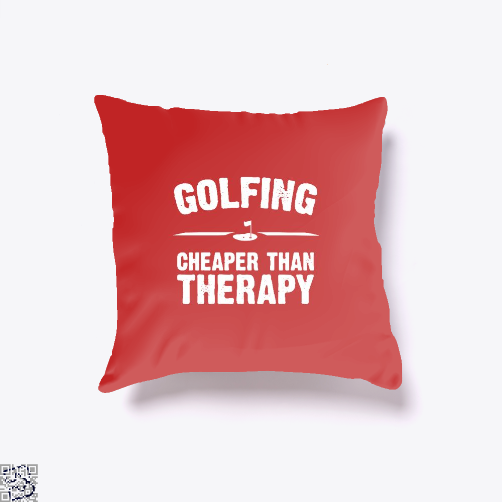 Golfing Cheaper Than Therapy, Golf Throw Pillow Cover