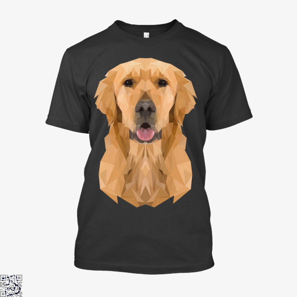 Golden Boy Golden Retriever Dog Low Polygon, Golden Retriever Shirt