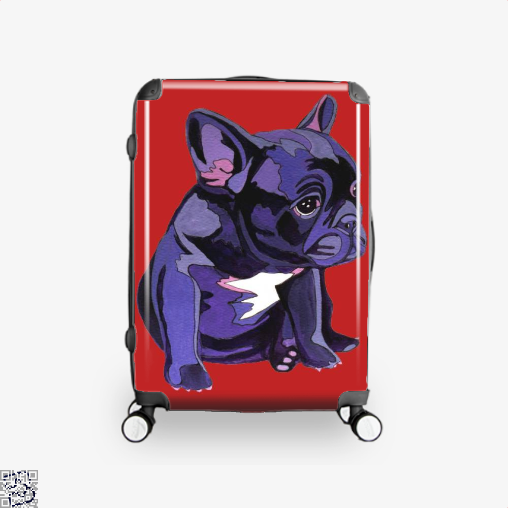 French Bulldog In Purple, French Bulldog Suitcase