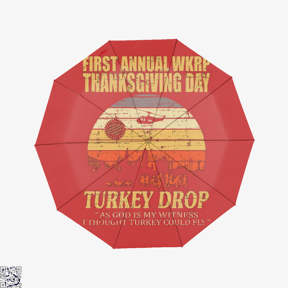 Thanksgiving Wkrp Turkey Drop Distressed, Turkey Umbrella
