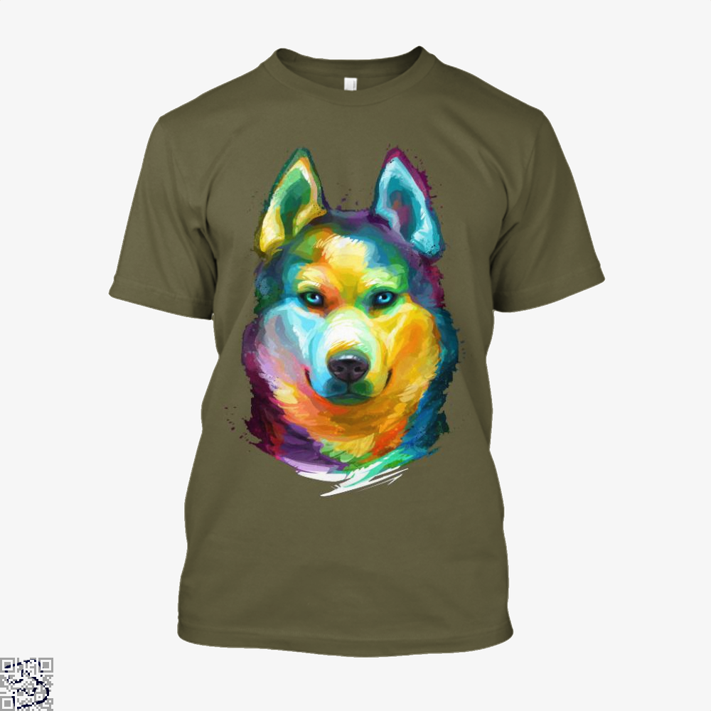 Siberian Husky Colorful Portrait, Husky Shirt