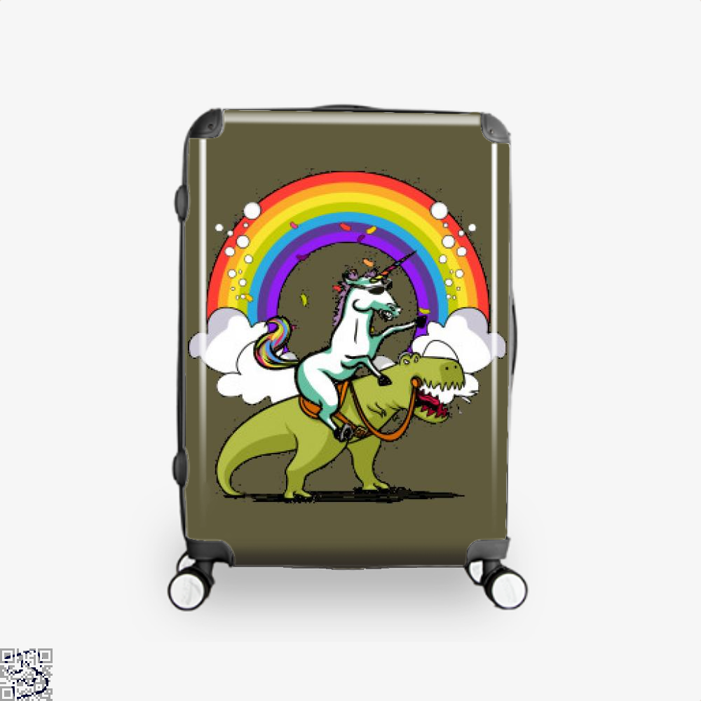 Unicorn Riding Trex Party Dinosaur Colorful Rainbow, Dinosaur Suitcase