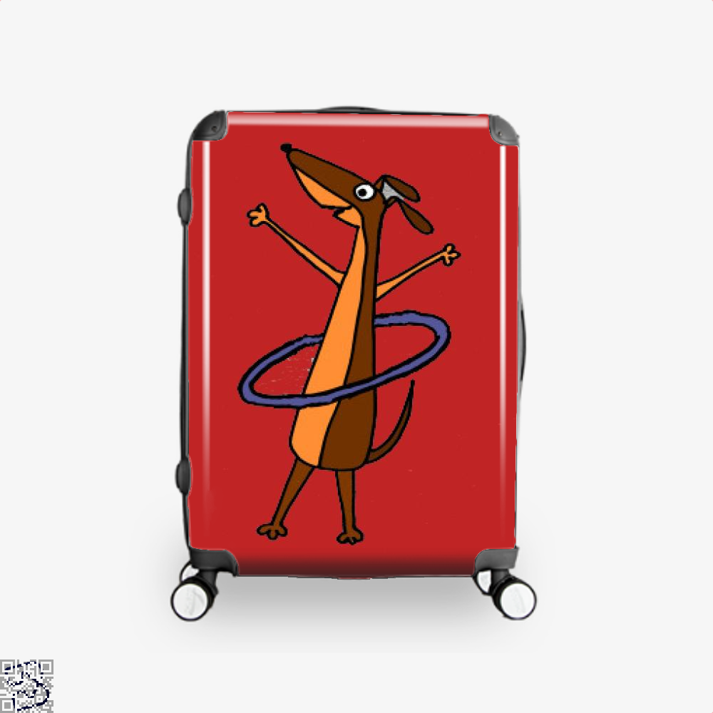 Funny Dachshund Dog With Hula Hoop Art, Dachshund Suitcase