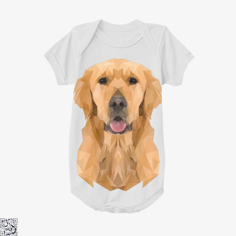 Golden Boy Golden Retriever Dog Low Polygon, Golden Retriever Baby Onesie