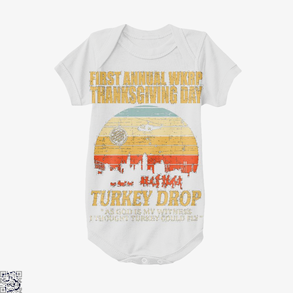 Thanksgiving Wkrp Turkey Drop Distressed, Turkey Baby Onesie