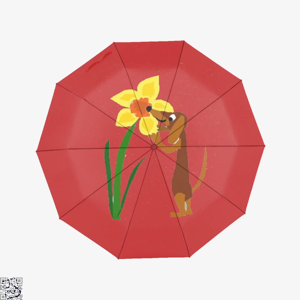 Funny Cute Dachshund Dog And Daffodil Flower, Dachshund Umbrella