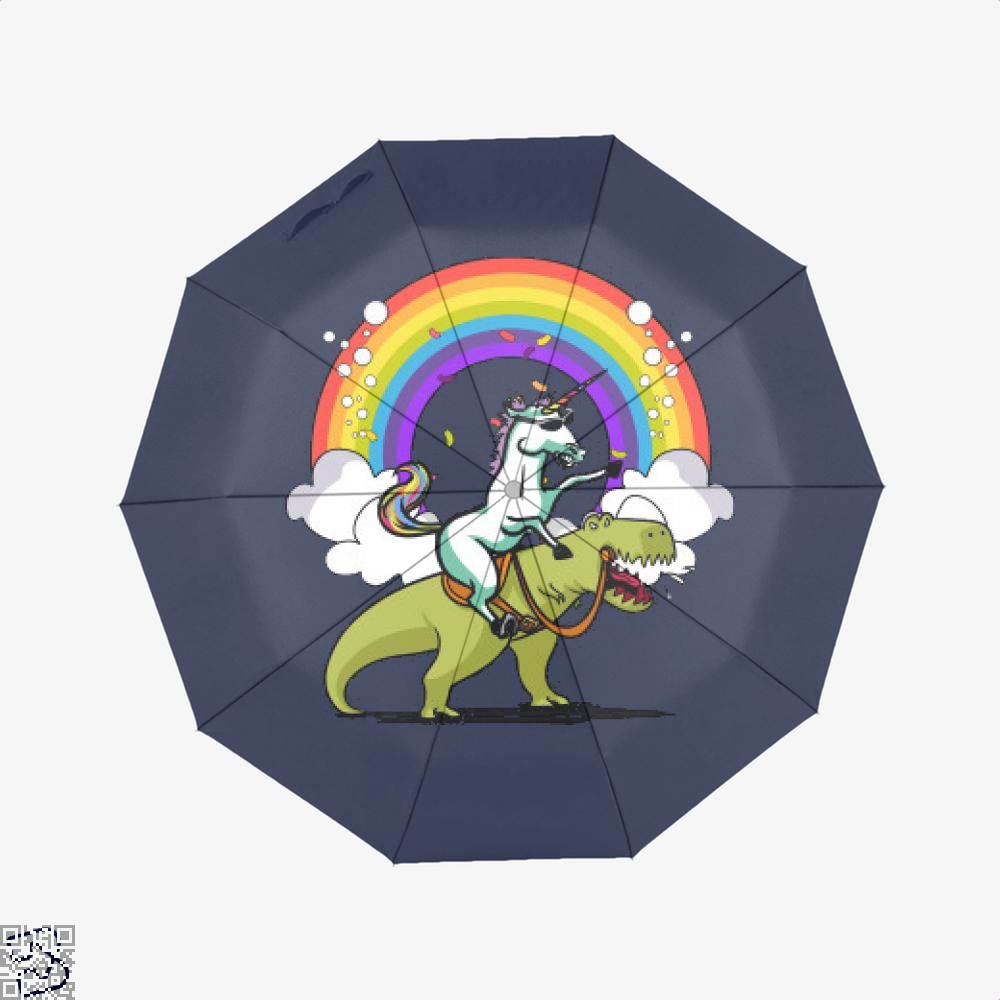 Unicorn Riding Trex Party Dinosaur Colorful Rainbow, Dinosaur Umbrella