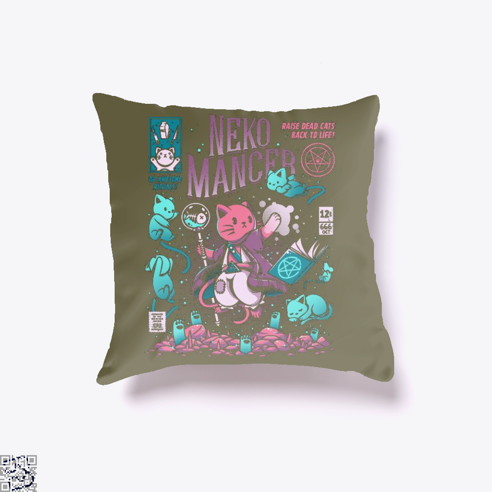 Nekomancer Cat Magician, Cat Throw Pillow Cover