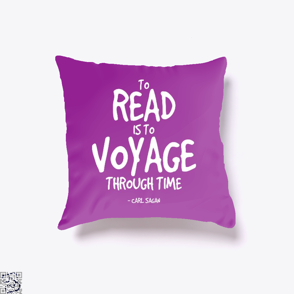 Reading Is Time Traveling Short Quote, Reading Throw Pillow Cover