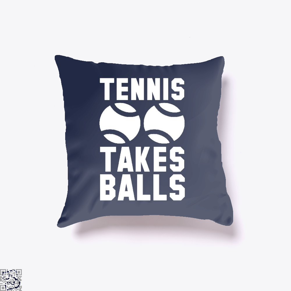 Tennis Takes Balls, Tennis Throw Pillow Cover