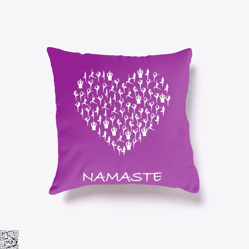 Namaste Yoga Heart With Tiny Yoga Poses Meditation Shirt, Yoga Throw Pillow Cover