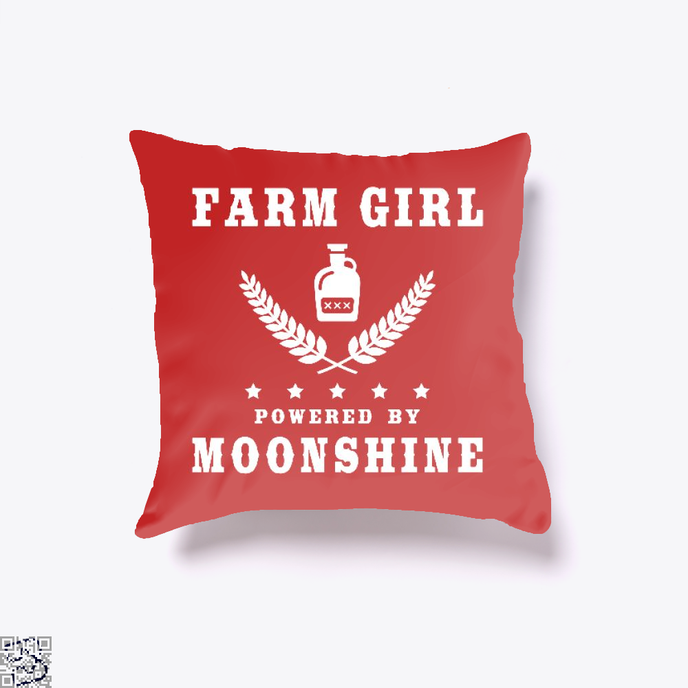 Farm Girl Powered By Moonshine, Drink Throw Pillow Cover