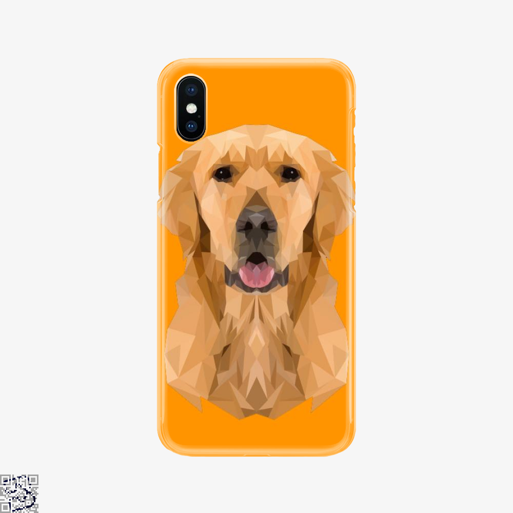 Golden Boy Golden Retriever Dog Low Polygon, Golden Retriever Phone Case