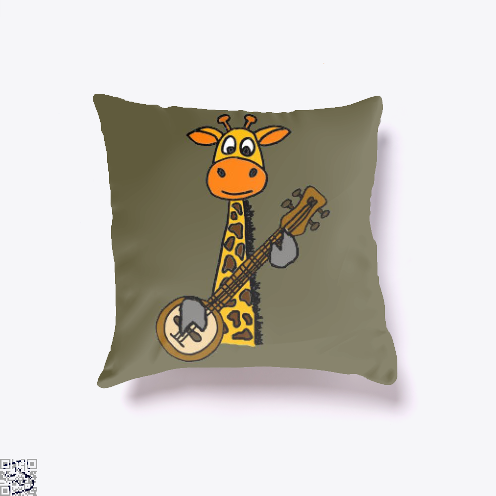 Funny Funky Giraffe Playing Banjo Art, Giraffe Throw Pillow Cover
