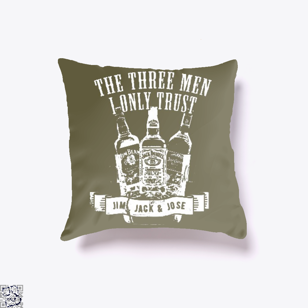 The Three Men I Only Trust, Wine Throw Pillow Cover