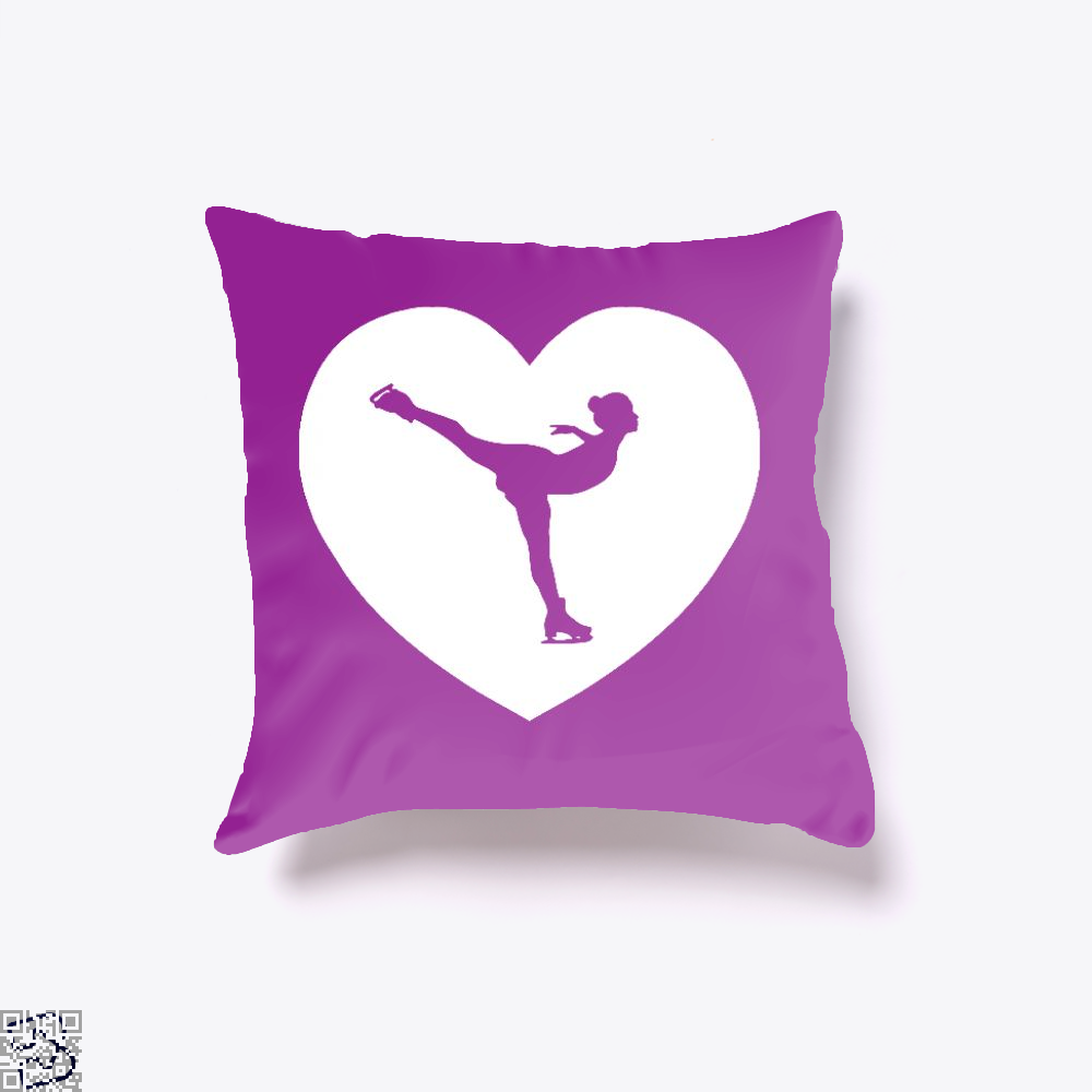 Skating Love | I Heart, Skating Throw Pillow Cover