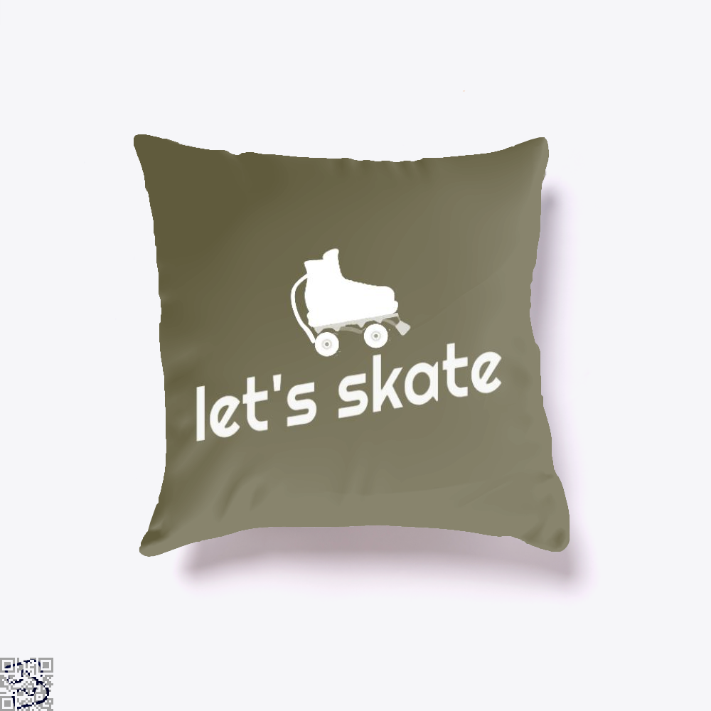 Retro Roller Skating - Let's Skate, Skating Throw Pillow Cover