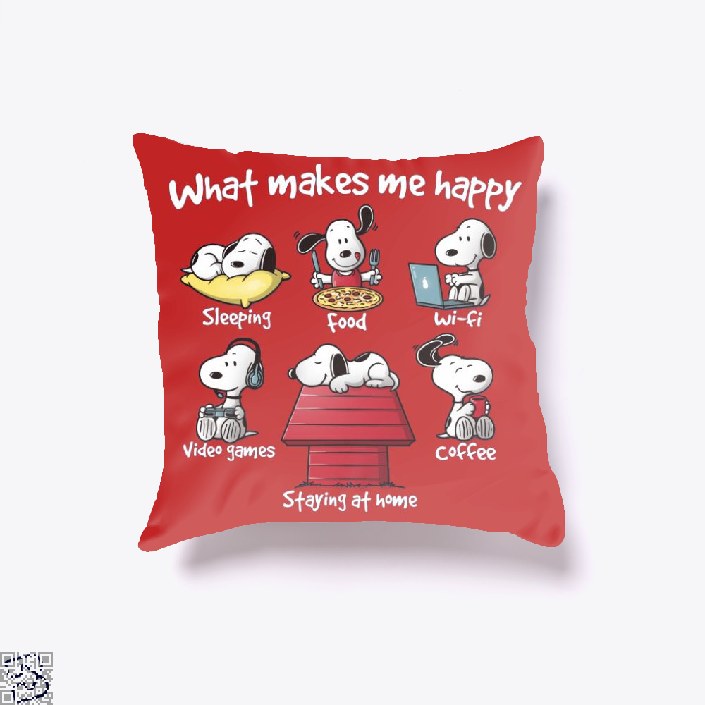 What Makes Me Happy, Snoopy Throw Pillow Cover
