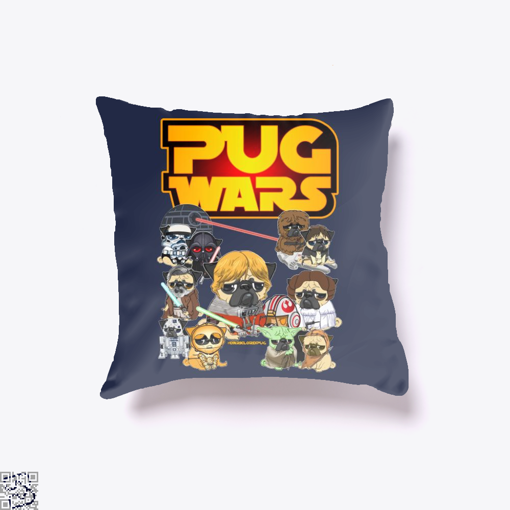 Pug Wars, Pug Throw Pillow Cover