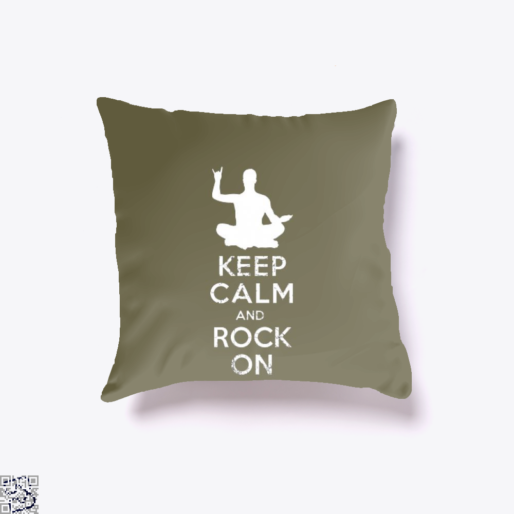 Keep Calm And Rock On Yoga Meditation Christmas Gift, Yoga Throw Pillow Cover
