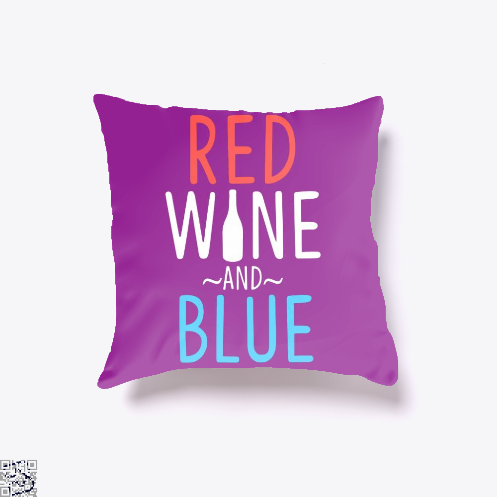 Red Wine And Blue, Wine Throw Pillow Cover