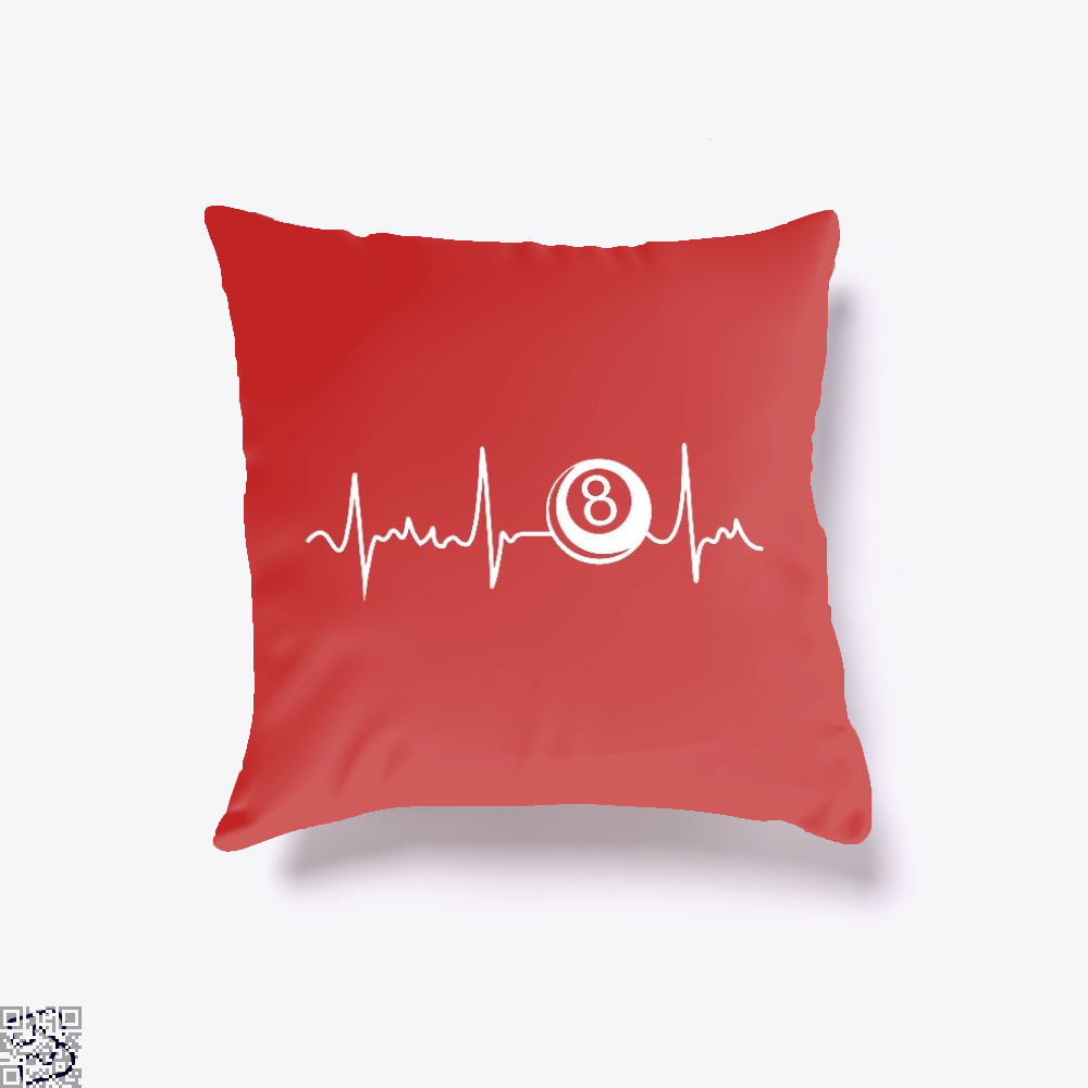 8 Eight Ball Heartbeat Shirt Funny Cool Gift, Snooker Throw Pillow Cover