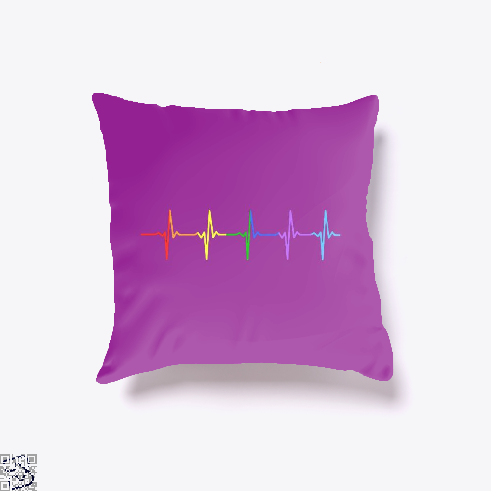 Gay Pride Lgbt Heartbeat Pulse, Lgbt Throw Pillow Cover