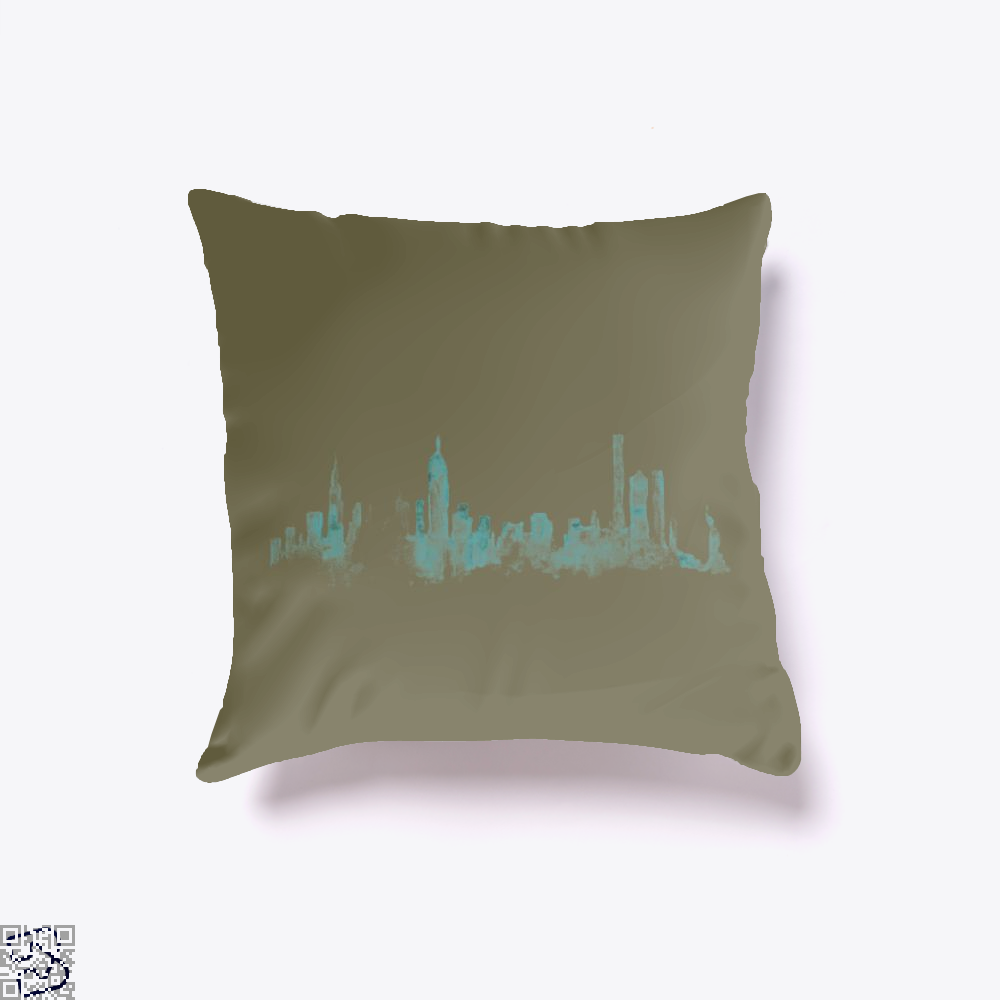 Watercolor Skyline, New York City Throw Pillow Cover