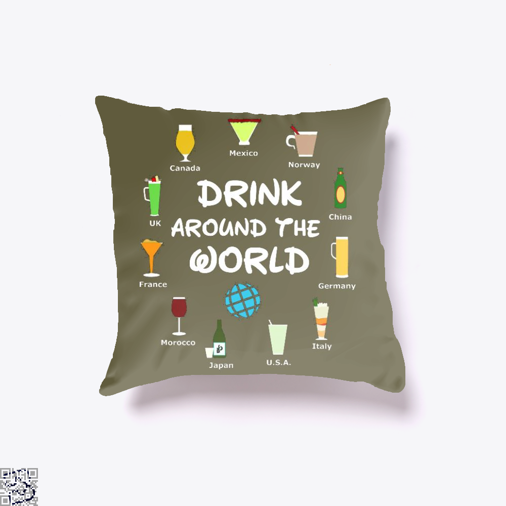 World Showcase Drink Around The World, Wine Throw Pillow Cover